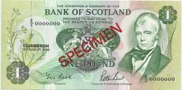 Bank Of Scotland 1 Pound 1988. UNC SPECIMEN P-111 Signature G - [ 3] Scotland