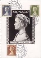 Monaco FDC Maximum Card Carte-Maximum Premier Jour 1957 Countess Grace Sent To Denmark (2 Scans) - Maximumkarten (MC)