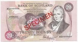 Bank Of Scotland 20 Pounds 1993. UNC SPECIMEN P-118 - Scozia