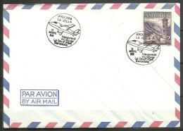 ANDORRA- SOBRE MATASELLOS ESPECIAL 12 AGO. 1982 PRIMER VOL REGULAR LA SEU D´URGELL BARCELO NA (S-2) - Spanish Andorra