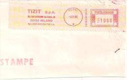 TIZIT, MILANO, FRANCATURA MECCANICA ROSSA  L.1000, SU RITAGLIO DI BUSTA, 1992, - Affrancature Meccaniche Rosse (EMA)