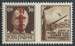 1944 RSI PROPAGANDA DI GUERRA 30 CENT ROSSO BRUNO MNH ** - ED772-3 - 4. 1944-45 Repubblica Sociale