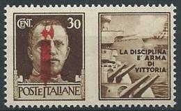 1944 RSI PROPAGANDA DI GUERRA 30 CENT ROSSO BRUNO MNH ** - ED773-10 - Propaganda Di Guerra