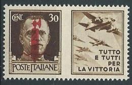 1944 RSI PROPAGANDA DI GUERRA 30 CENT ROSSO BRUNO MNH ** - ED773-4 - 4. 1944-45 Repubblica Sociale