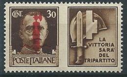 1944 RSI PROPAGANDA DI GUERRA 30 CENT ROSSO BRUNO MNH ** - ED773-9 - Kriegspropaganda