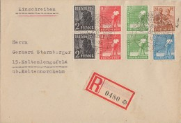 Gemeina. R-Brief Mif Minr.2x 943,2x 945,2x 946,950,951 SST Kaltennordheim 23.6.48 - Gemeinschaftsausgaben