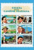 [DC0131] CARTOLINEA - MOLTO RARA - STORIA DELLA CANZONE ITALIANA - RIPROD. FOGLIETTO FRANCOBOLLI REPUBBLICA SAN MARINO - Francobolli (rappresentazioni)