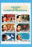 [DC0132] CARTOLINEA - MOLTO RARA - STORIA DELLA CANZONE ITALIANA - RIPROD. FOGLIETTO FRANCOBOLLI REPUBBLICA SAN MARINO - Francobolli (rappresentazioni)