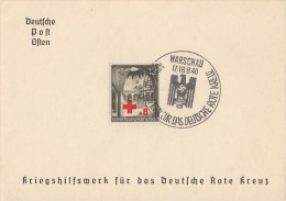 GG Sonderkarte Kriegshilfswerk Für Das Dt. Rote Kreuz SST Warschau 17/18.8.40 - Besetzungen 1938-45