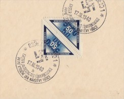 Böhmen & Mähren Briefausschnitt Minr.52 Kehrdruckpaar SST 17.3.40 - Böhmen Und Mähren