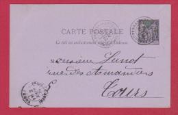 Carte Postale //  De Clermont Ferrand //  Pour Tours  //  28/02/1882 - Marcophilie (Lettres)