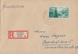 Fr. Zone Baden R-Brief Mif Minr.12 Freiburg 3.12.47 - Französische Zone
