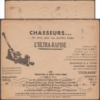 France 1938. Enveloppe CCP publicitaire de Paris. L'ultra-rapide, pour r�cup�rer les douilles de chasse