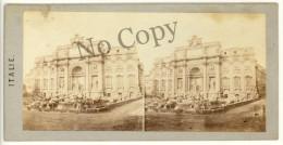 Photo Stéréo Albuminé, Italie, Rome, Fontaine De Trévi, Circa 1880 Roma. ST21 - Fotos Estereoscópicas
