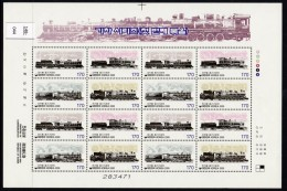 ** South Korea Railway / Train Full Sheet Of 4 Sets Of The 2000 Issue U/m (MNH) - Trains