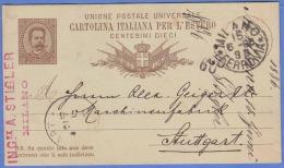 Italien 1886 - Ganzsache Auf Pk Gel.v. Milano > Stuttgart - 1878-00 Humbert I.