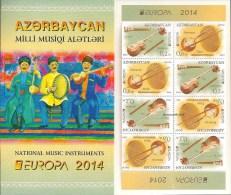 "AZERBAÏDJAN // AZERBAYAN - EUROPA – CEPT 2014 THEME ANNUEL "" INSTRUMENTS De MUSIQUE"" - CARNET Avec FEUILLE De 4 SÈRIES - 2014"