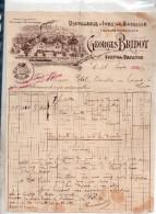 """Yvry-la-bataille 27 , """" Greorges Bridot """" Distillerie..liqueurs Superieures..facture Ancienne De 1889 - France"""