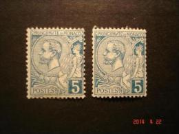 Briefmarken 2 Mal 5 Cent Blau Fürst Albert I. Monaco 1891 Michel Nr. 13 Postfrisch - Monaco