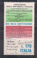 ITALIA 1978 COSTITUZIONE SASS. 1422 MNH XF - 6. 1946-.. República