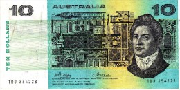 AUSTRALIA 1974 $10 Banknote Phillips/Wheeler - 1974-94 Australia Reserve Bank (paper Notes)