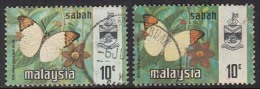 10c X 2 Diff., Print, Litho & Photo, Sabah Used 1971, 1977, Butterfly, Insect, Malaysia - Sabah