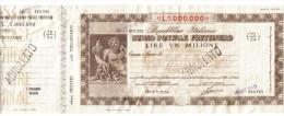 Buono Postale Fruttifero  1000000 Lire Annullato Provincia Oristano Uff. Fordongianus Doc.003 - Acciones & Títulos