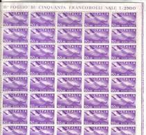POSTA AEREA 50 LIRE STELLE - FOGLIO COMPLETO 50 PEZZI .  Ripiegato  ***  MNH . - 6. 1946-.. Repubblica