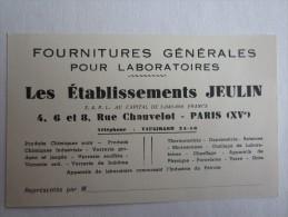 PUBLICITÉ JEULIN RUE CHAUVELOT  PARIS VERRERIE  APPAREIL DE LABORATOIRE - Publicités