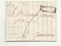 DE428-1802 REPUBBLICA ITALIANA  NAPOLEONICA lettera ROMA-CREMONA-t.CARTELLA di ROMA-lettera forse scritta in spagnolo