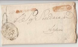 DE429-1829 REGNO NAPOLI Lettera Da TERRA DEL LAVORO (PROCURA Del RE)-ARPINO-t.ROSSO CARTELLA E REAL SERVIZIO+t.UFFICIO - 1. ...-1850 Prefilatelia