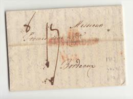DE43-1813 Faltbrief AMSTERDAM-BORDEAUX (Frankreich)-St.ROT DEPARTEMENT 118 AMSTERDAM+Doppel TAXv. - Niederlande