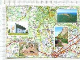 TERRITOIRE De BELFORT  -  Cartographie   Et 4 Vues  :   Eglise De Ronchamps, Ballon D Alsace, Lion Belfort,  Château - Autres Communes