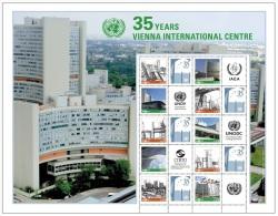 2014 - O.N.U. / UNITED NATIONS - VIENNA - FOGLIO DI FRANCOBOLLI PERSONALIZZATI - 35 ANNI CENTRO INTERNAZIONALE. MNH - Blocks & Sheetlets