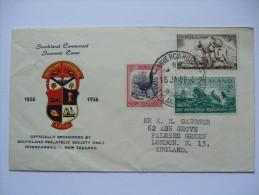 NEW ZEALAND 1956 SOUTHLAND CENTENNIAL EXHIBITION INVERCARGILL TO ENGLAND - Storia Postale