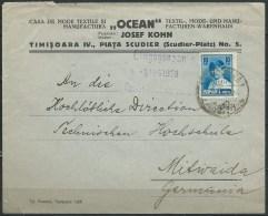 B.14.SEP.250.   POSTSTUK  VAN  ROEMENIE  NAAR  DUITSLAND.  .  1928. - Brieven En Documenten