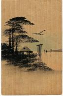 Japanese Painted Art Card Made Of Wood Carte Japonaise En Bois Peinte - Cartes Postales