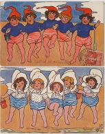 2 Cartes Groupe Petites Filles Plage Art Card Ecila Une Avec Pub Chicorée Casiez Cambrai Nord - Groupes D'enfants & Familles