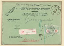 197/22 - SUPERBE ETAT - Enveloppe de Valeurs Non Recouvr�es RECO ARLON 1936 vers GREVENMACHER - Taxation Simple 1 F 75