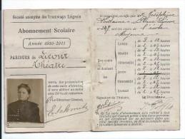 abonnement scolaire Tramways Li�geois Herstal Li�ge 1910  13x9