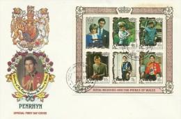 Penrhyn 1981 Royal Wedding Souvenir Sheet FDC - Penrhyn