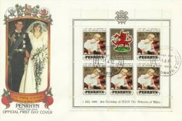 Penrhyn 1982 21 June Birth Of Prince William Of Wales 30c Souvenir Sheet FDC - Penrhyn