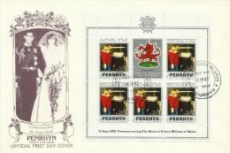 Penrhyn 1982 21 June Birth Of Prince William Of Wales 50c Souvenir Sheet FDC - Penrhyn