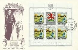 Penrhyn 1982 21 June Birth Of Prince William Of Wales 80c Souvenir Sheet FDC - Penrhyn