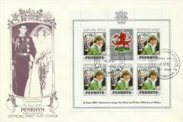 Penrhyn 1982 21 June Birth Of Prince William Of Wales $1.40 Souvenir Sheet FDC - Penrhyn