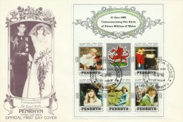 Penrhyn 1982 21 June Birth Of Prince William Of Wales Souvenir Sheet FDC - Penrhyn