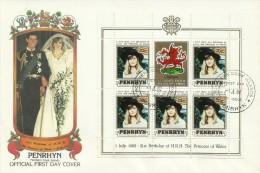 Penrhyn 1982  21 June Birth Of Prince William Of Wales 70c Souvenir Sheet FDC - Penrhyn