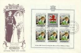 Penrhyn 1982 Birth Of Prince William Sheetlet FDC - Penrhyn