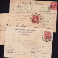 E0165 SPAIN, 3 @ Postcards With Railway Associated Postmarks - 1889-1931 Kingdom: Alphonse XIII