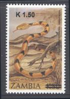 ZAMBIA  ,2014, MNH,SNAKES, OVERPRINT - Serpents